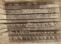 [Banded sculptural frieze on the east side of the south doorway of the Hoysalesvara Temple, Halebid.]